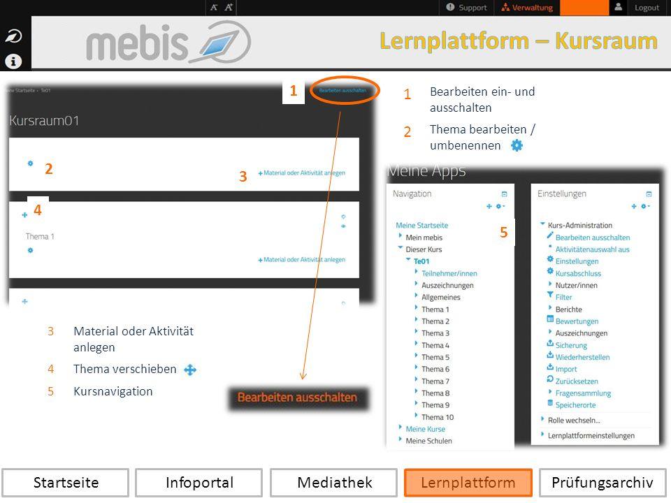 Startseite Infoportal Mediathek LernplattformPrüfungsarchiv 1 Bearbeiten ein- und ausschalten 2 Thema bearbeiten / umbenennen 1 3Material oder Aktivität anlegen 4Thema verschieben 5Kursnavigation 3 4 5 2