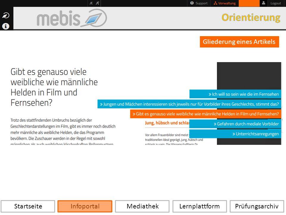 Startseite Infoportal Mediathek LernplattformPrüfungsarchiv Gliederung eines Artikels