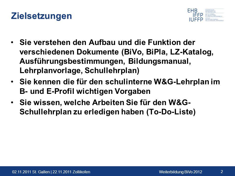 02.11.2011 St. Gallen | 22.11.2011 ZollikofenWeiterbildung BiVo 2012 2 Zielsetzungen Sie verstehen den Aufbau und die Funktion der verschiedenen Dokum