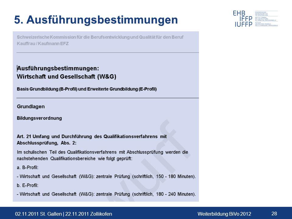 02.11.2011 St. Gallen | 22.11.2011 ZollikofenWeiterbildung BiVo 2012 28 5. Ausführungsbestimmungen