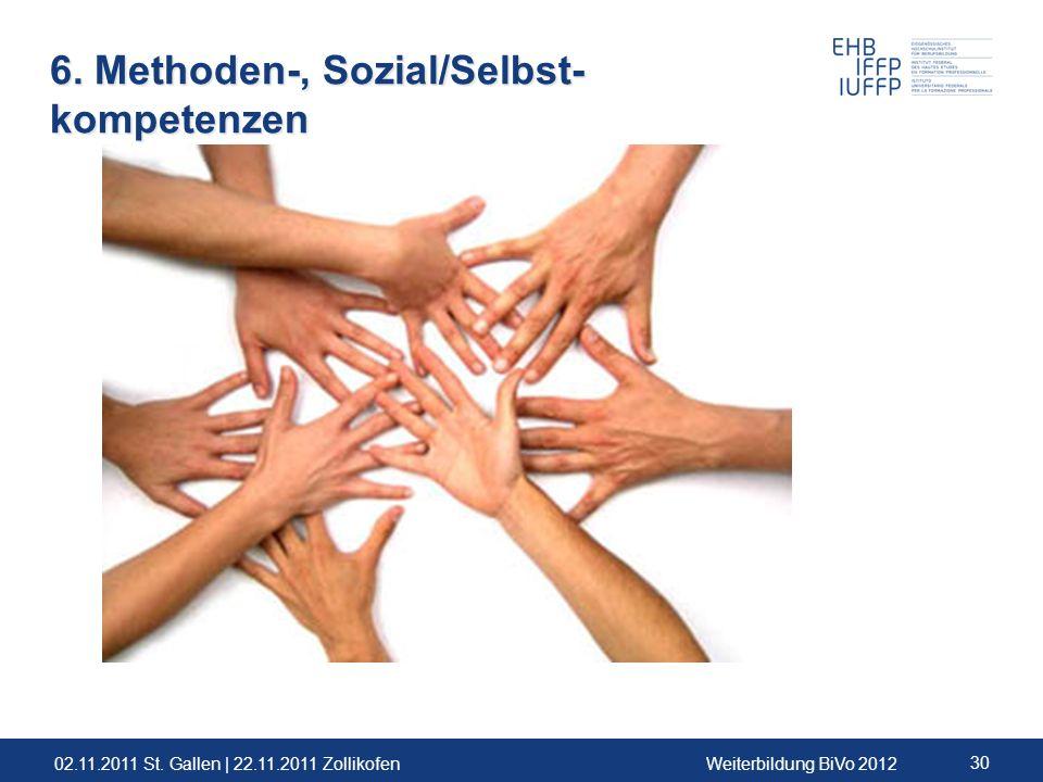 02.11.2011 St. Gallen | 22.11.2011 ZollikofenWeiterbildung BiVo 2012 30 6. Methoden-, Sozial/Selbst- kompetenzen