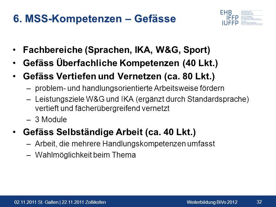 02.11.2011 St. Gallen | 22.11.2011 ZollikofenWeiterbildung BiVo 2012 32 6. MSS-Kompetenzen – Gefässe Fachbereiche (Sprachen, IKA, W&G, Sport) Gefäss Ü