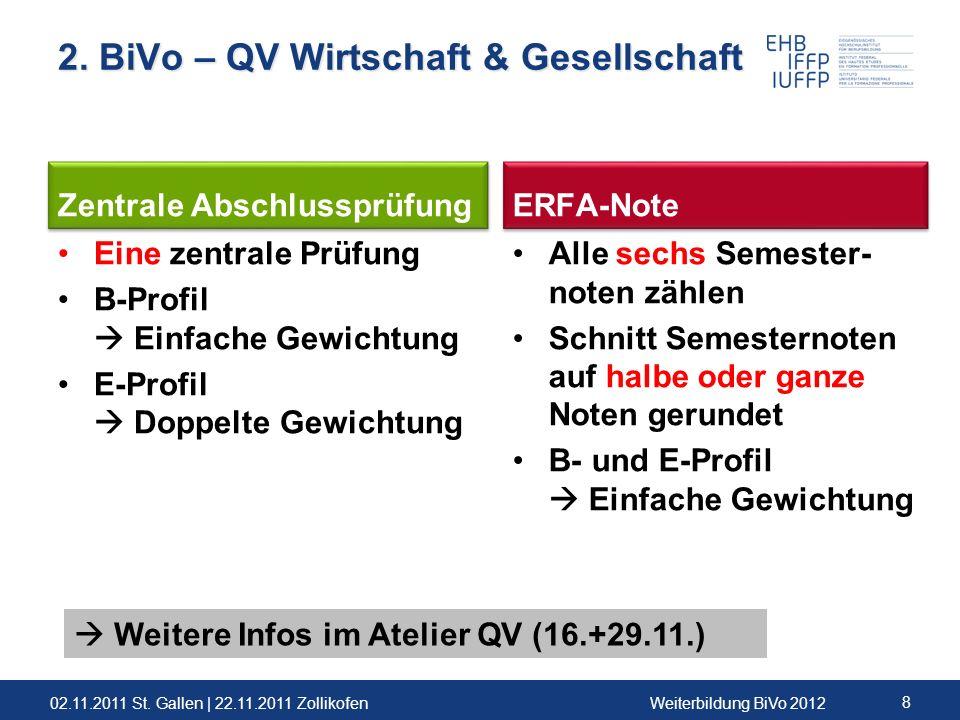 02.11.2011 St. Gallen | 22.11.2011 ZollikofenWeiterbildung BiVo 2012 8 2. BiVo – QV Wirtschaft & Gesellschaft Zentrale Abschlussprüfung Eine zentrale