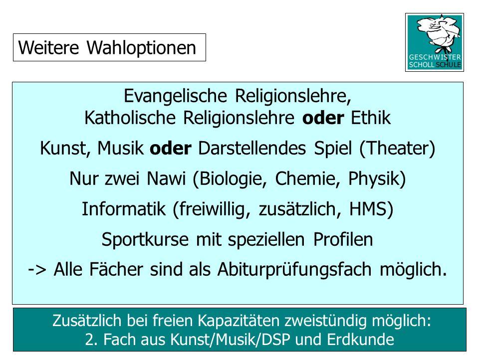 Zusätzlich bei freien Kapazitäten zweistündig möglich: 2. Fach aus Kunst/Musik/DSP und Erdkunde Evangelische Religionslehre, Katholische Religionslehr