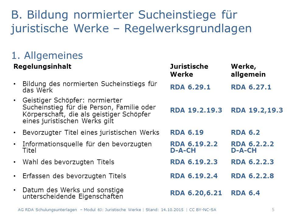 Zivilprozesse und andere Prozesse, außer Strafprozesse und Rechtsmittel (RDA 6.29.1.22) Normierter Sucheinstieg: Für die amtlichen Protokolle und Akten von Zivilprozessen und sonstigen nicht strafrechtlichen Verfahren (einschließlich Wahlrechtsverfahren) und für Rechtsmittelverfahren dieser Art von Prozessen bilden Sie den normierten Sucheinstieg, der das Werk repräsentiert, durch Kombination (in dieser Reihenfolge): -Sucheinstieg, der die Person oder die Körperschaft repräsentiert, die die Klage eingereicht hat (siehe RDA 9.19.1 für Personen oder RDA 11.13.1 für Körperschaften, sofern zutreffend) & -Bevorzugter Titel der Protokolle usw.