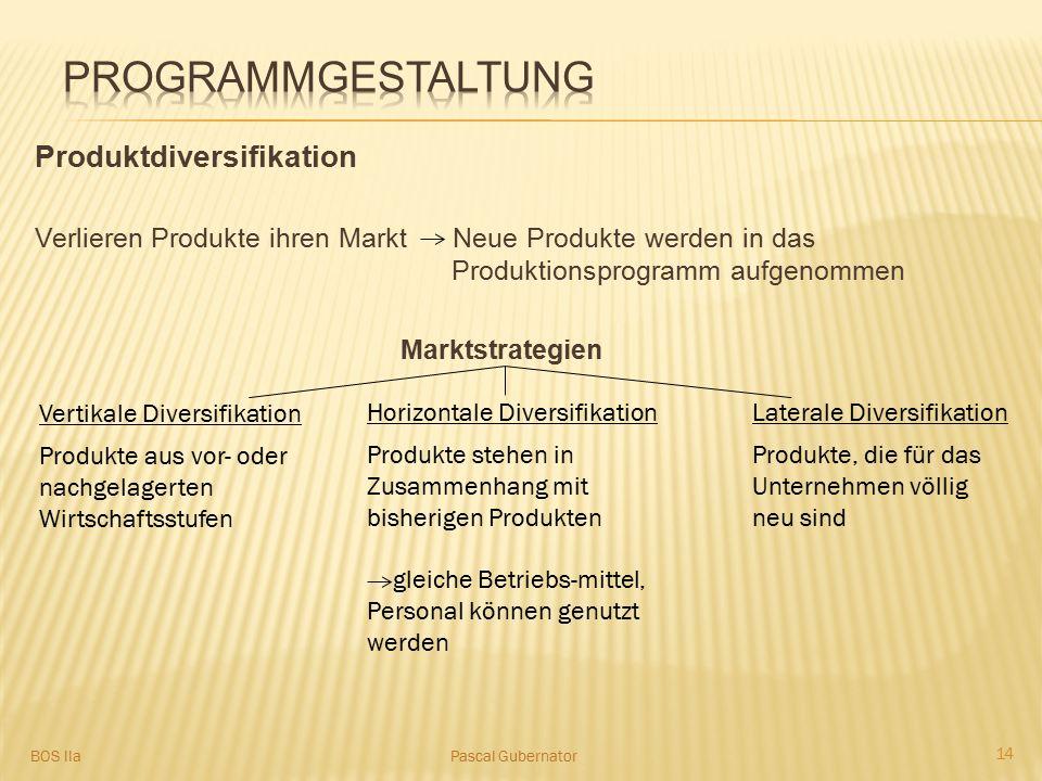 Produktdiversifikation Verlieren Produkte ihren Markt Neue Produkte werden in das Produktionsprogramm aufgenommen Marktstrategien Vertikale Diversifik