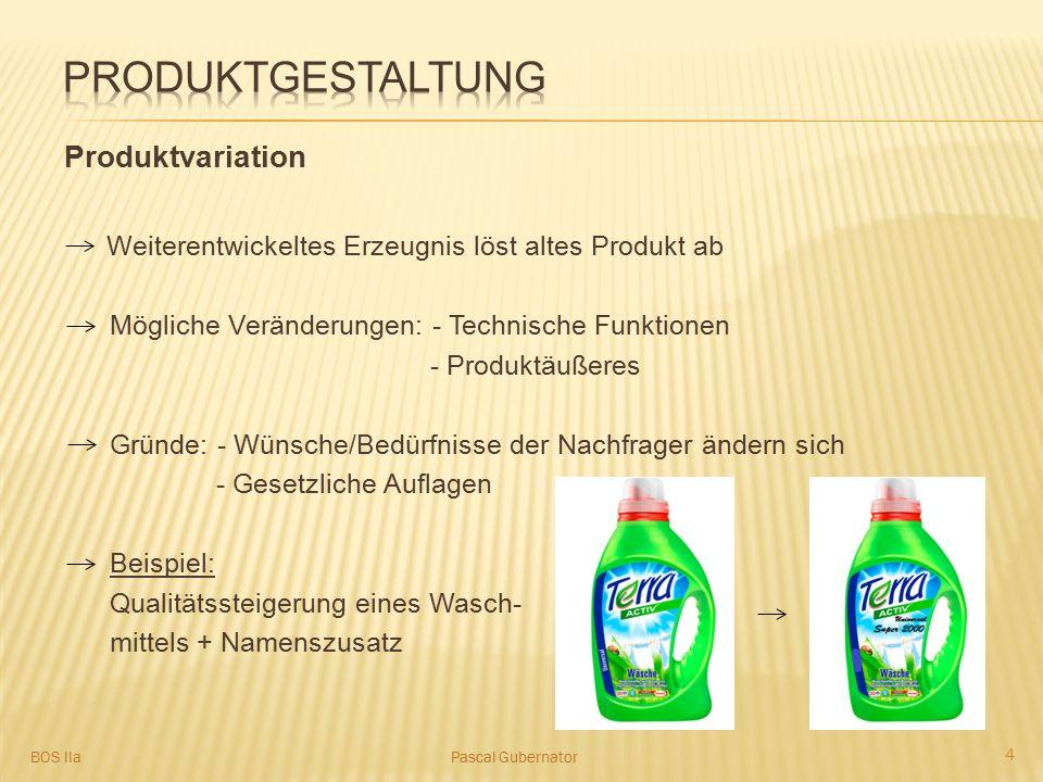 Produktvariation Weiterentwickeltes Erzeugnis löst altes Produkt ab Mögliche Veränderungen: - Technische Funktionen - Produktäußeres Gründe: - Wünsche