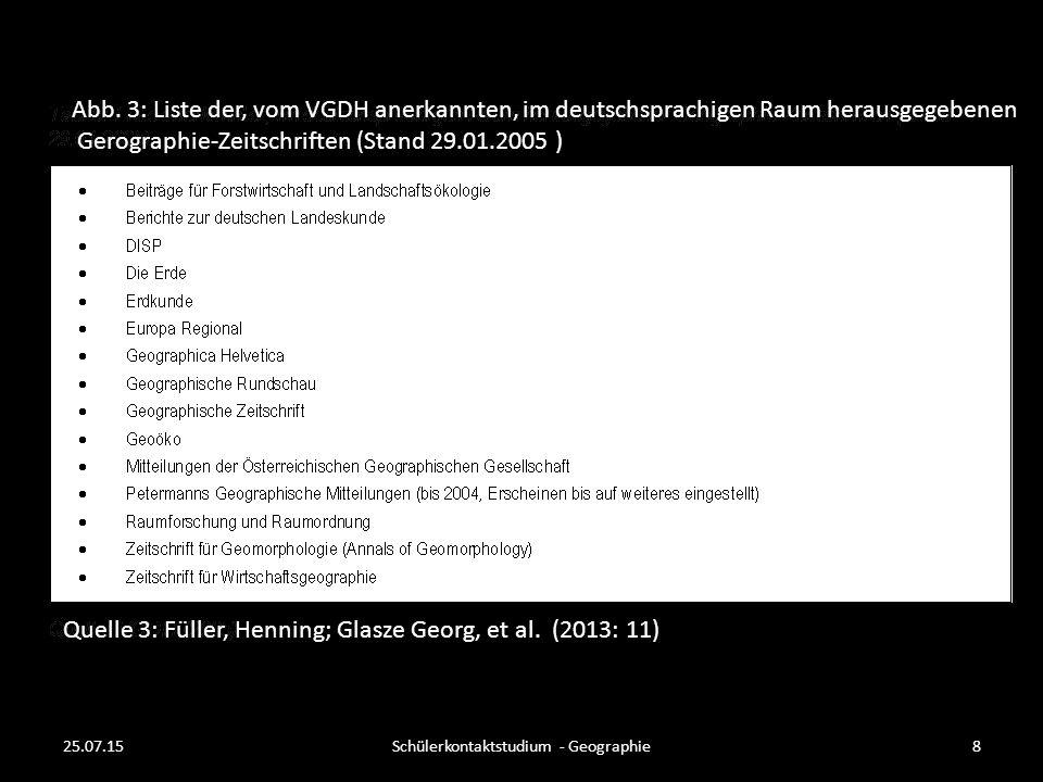 Abb. 3: Liste der, vom VGDH anerkannten, im deutschsprachigen Raum herausgegebenen Gerographie-Zeitschriften (Stand 29.01.2005 ) Quelle 3: Füller, Hen