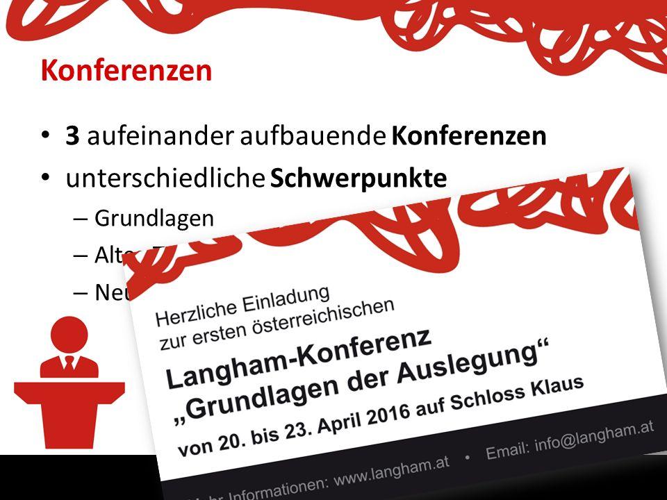 Langham Österreich. Die Bibel treu, relevant und klar verkündigen. Konferenzen 3 aufeinander aufbauende Konferenzen unterschiedliche Schwerpunkte – Gr