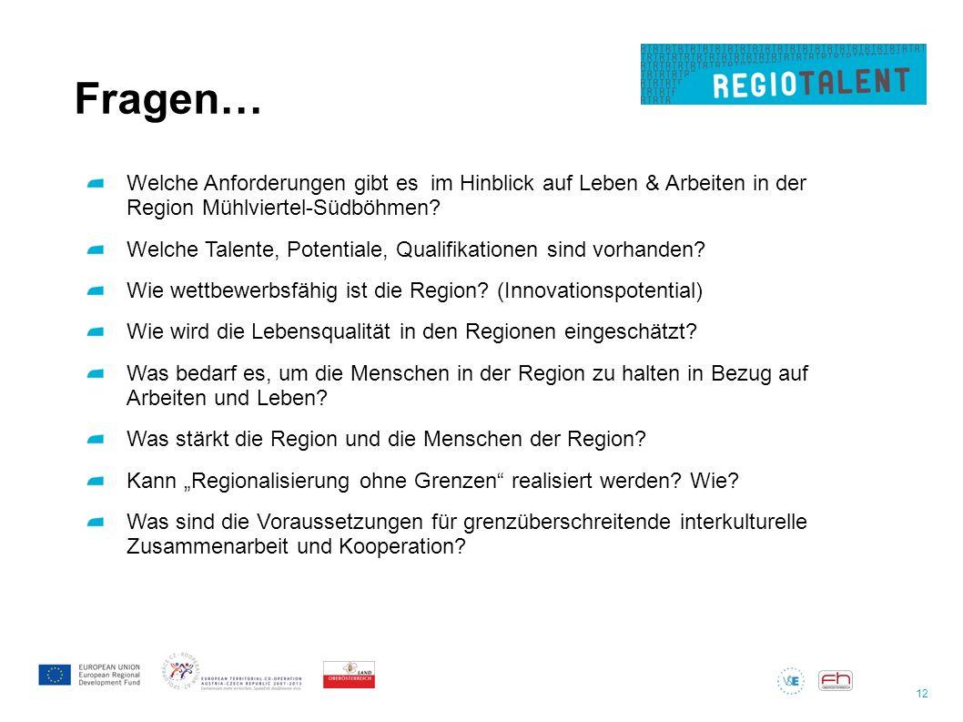12 Fragen… Welche Anforderungen gibt es im Hinblick auf Leben & Arbeiten in der Region Mühlviertel-Südböhmen? Welche Talente, Potentiale, Qualifikatio