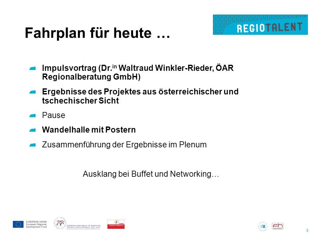 5 Fahrplan für heute … Impulsvortrag (Dr. in Waltraud Winkler-Rieder, ÖAR Regionalberatung GmbH) Ergebnisse des Projektes aus österreichischer und tsc