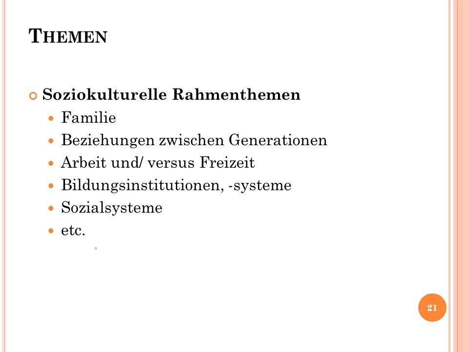 T HEMEN Soziokulturelle Rahmenthemen Familie Beziehungen zwischen Generationen Arbeit und/ versus Freizeit Bildungsinstitutionen, -systeme Sozialsyste