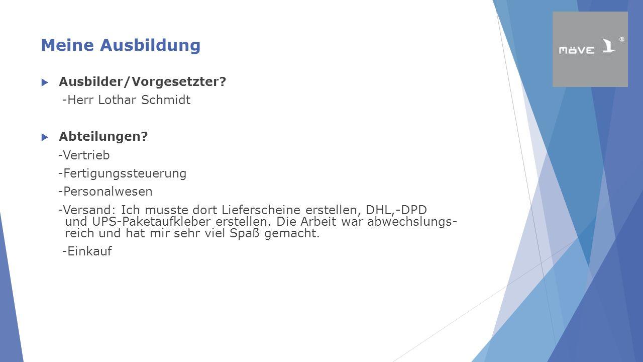 Meine Ausbildung  Ausbilder/Vorgesetzter? -Herr Lothar Schmidt  Abteilungen? -Vertrieb -Fertigungssteuerung -Personalwesen -Versand: Ich musste dort