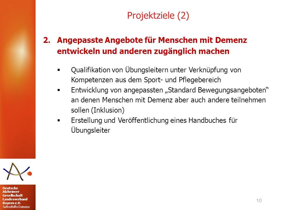 Deutsche Alzheimer Gesellschaft Landesverband Bayern e.V. Selbsthilfe Demenz Projektziele (2) 2.Angepasste Angebote für Menschen mit Demenz entwickeln