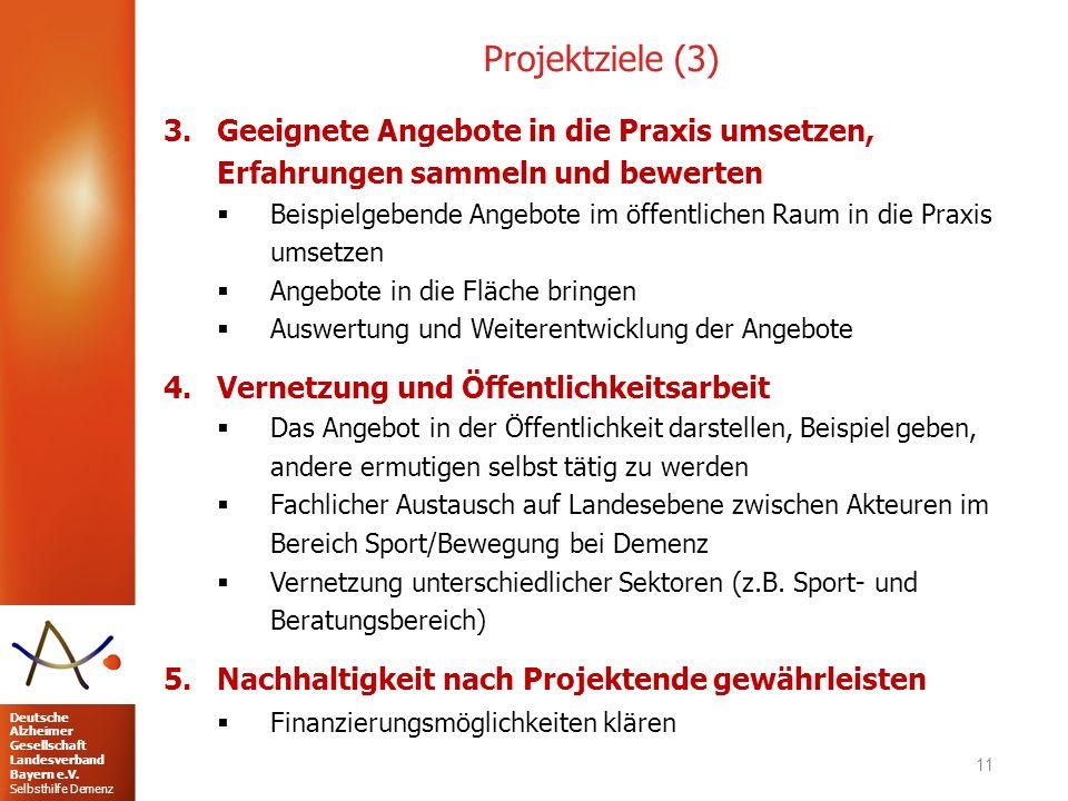 Deutsche Alzheimer Gesellschaft Landesverband Bayern e.V. Selbsthilfe Demenz Projektziele (3) 3.Geeignete Angebote in die Praxis umsetzen, Erfahrungen