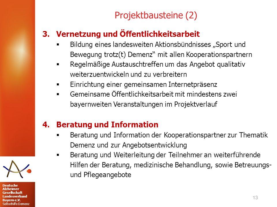 Deutsche Alzheimer Gesellschaft Landesverband Bayern e.V. Selbsthilfe Demenz Projektbausteine (2) 3.Vernetzung und Öffentlichkeitsarbeit  Bildung ein