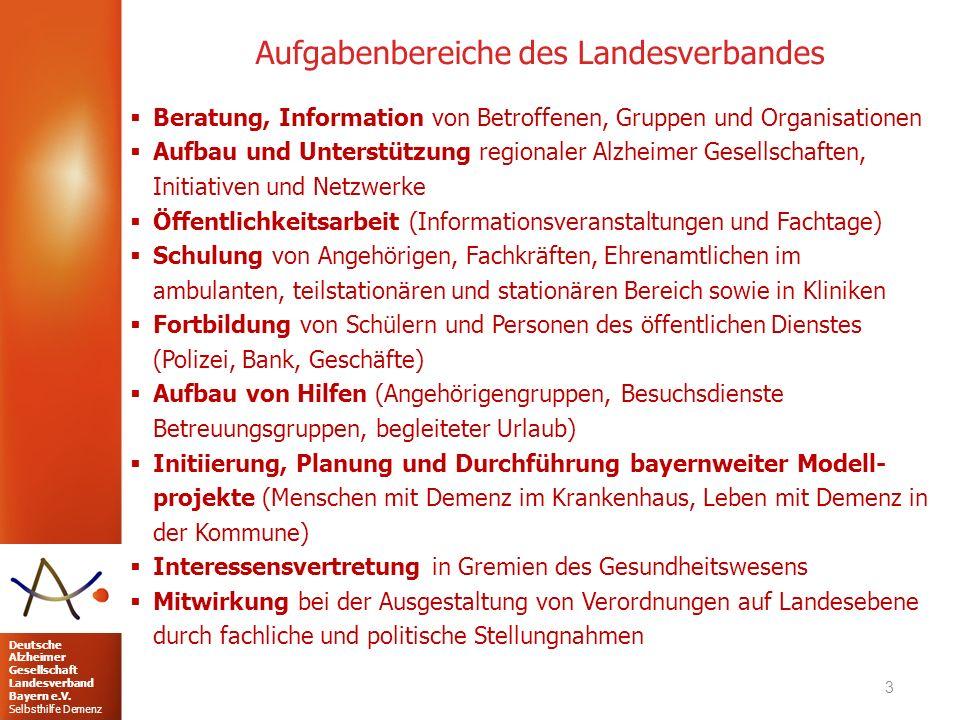 Deutsche Alzheimer Gesellschaft Landesverband Bayern e.V. Selbsthilfe Demenz Aufgabenbereiche des Landesverbandes 3  Beratung, Information von Betrof