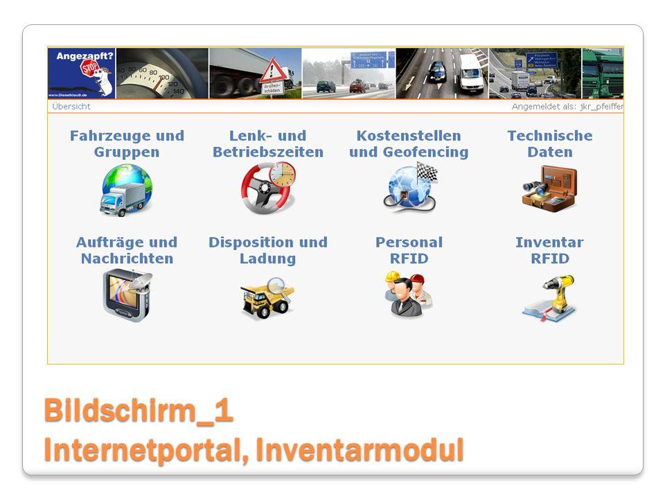 Bildschirm_1 Internetportal, Inventarmodul