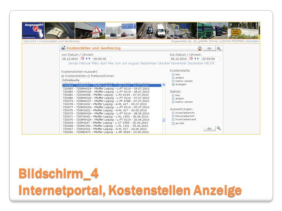 Bildschirm_4 Internetportal, Kostenstellen Anzeige