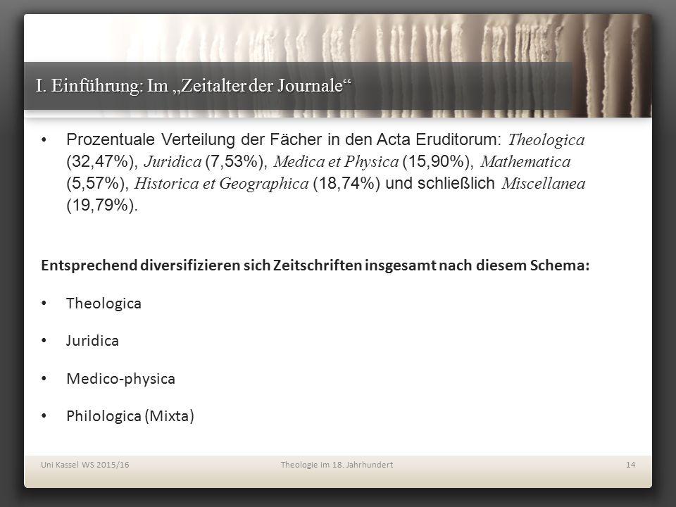 """I. Einführung: Im """"Zeitalter der Journale"""" Prozentuale Verteilung der Fächer in den Acta Eruditorum: Theologica (32,47%), Juridica (7,53%), Medica et"""