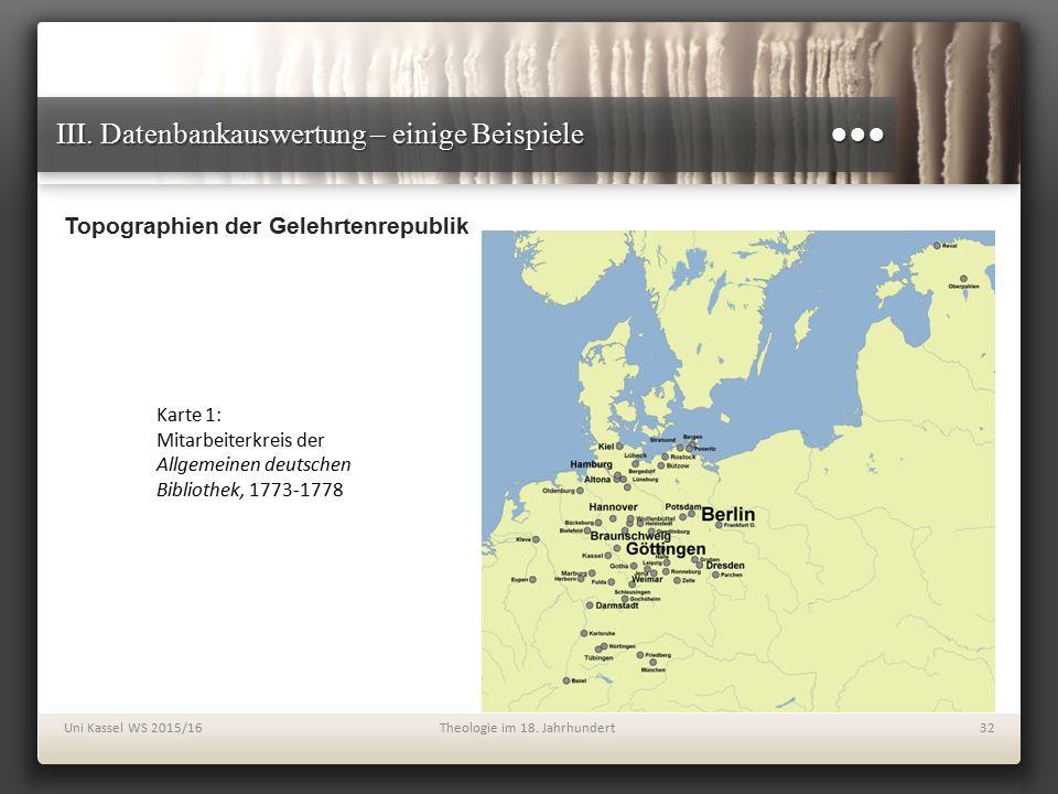 III. Datenbankauswertung – einige Beispiele ●●● Topographien der Gelehrtenrepublik Uni Kassel WS 2015/16Theologie im 18. Jahrhundert32 Karte 1: Mitarb