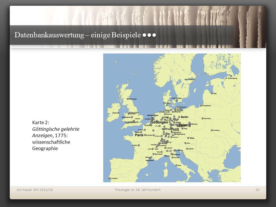 ●●● Datenbankauswertung – einige Beispiele ●●● Uni Kassel WS 2015/16Theologie im 18. Jahrhundert33 Karte 2: Göttingische gelehrte Anzeigen, 1775: wiss