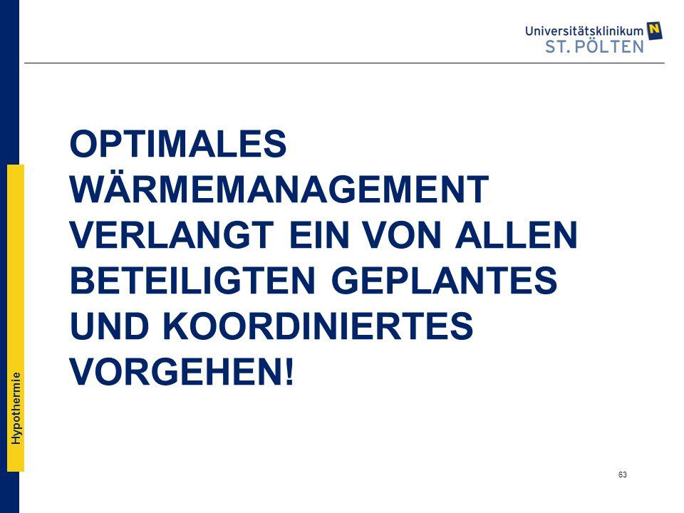 Hypothermie OPTIMALES WÄRMEMANAGEMENT VERLANGT EIN VON ALLEN BETEILIGTEN GEPLANTES UND KOORDINIERTES VORGEHEN! 63