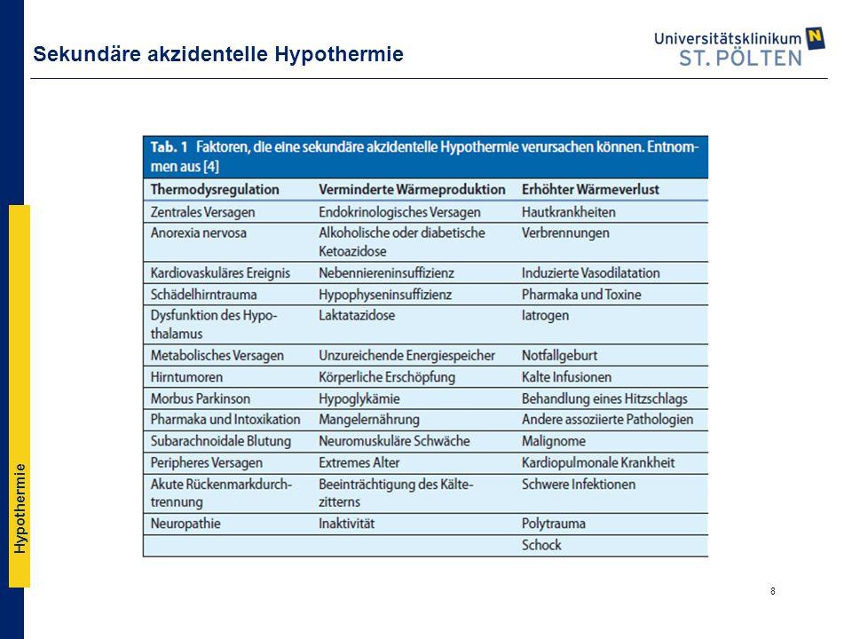 Hypothermie Therapie ▪WICHTIG: FRÜHZEITIG WÄRMEN.