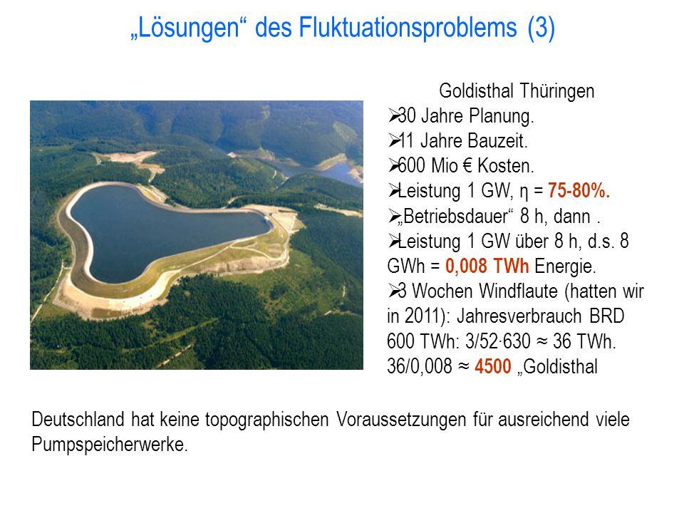 """""""Lösungen des Fluktuationsproblems (3) Deutschland hat keine topographischen Voraussetzungen für ausreichend viele Pumpspeicherwerke."""