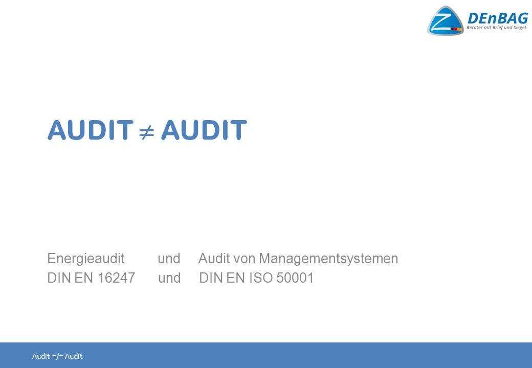 AUDIT  AUDIT Energieaudit und Audit von Managementsystemen DIN EN 16247 und DIN EN ISO 50001 Audit =/= Audit