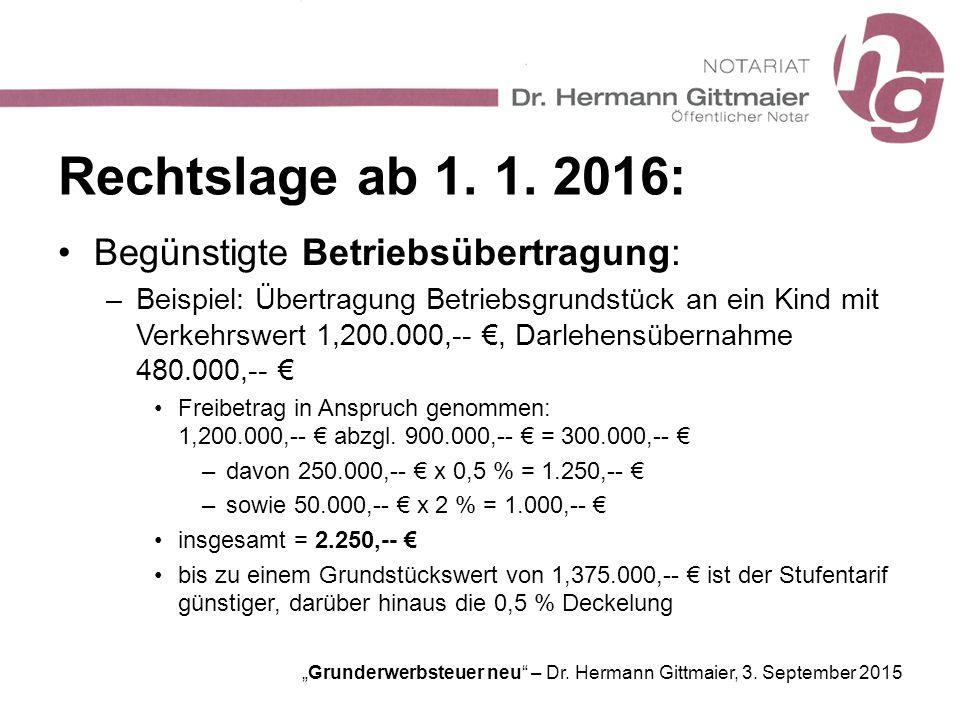 """""""Grunderwerbsteuer neu"""" – Dr. Hermann Gittmaier, 3. September 2015 Rechtslage ab 1. 1. 2016: Begünstigte Betriebsübertragung: –Beispiel: Übertragung B"""