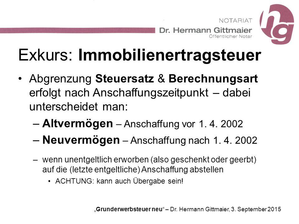 """""""Grunderwerbsteuer neu"""" – Dr. Hermann Gittmaier, 3. September 2015 Exkurs: Immobilienertragsteuer Abgrenzung Steuersatz & Berechnungsart erfolgt nach"""