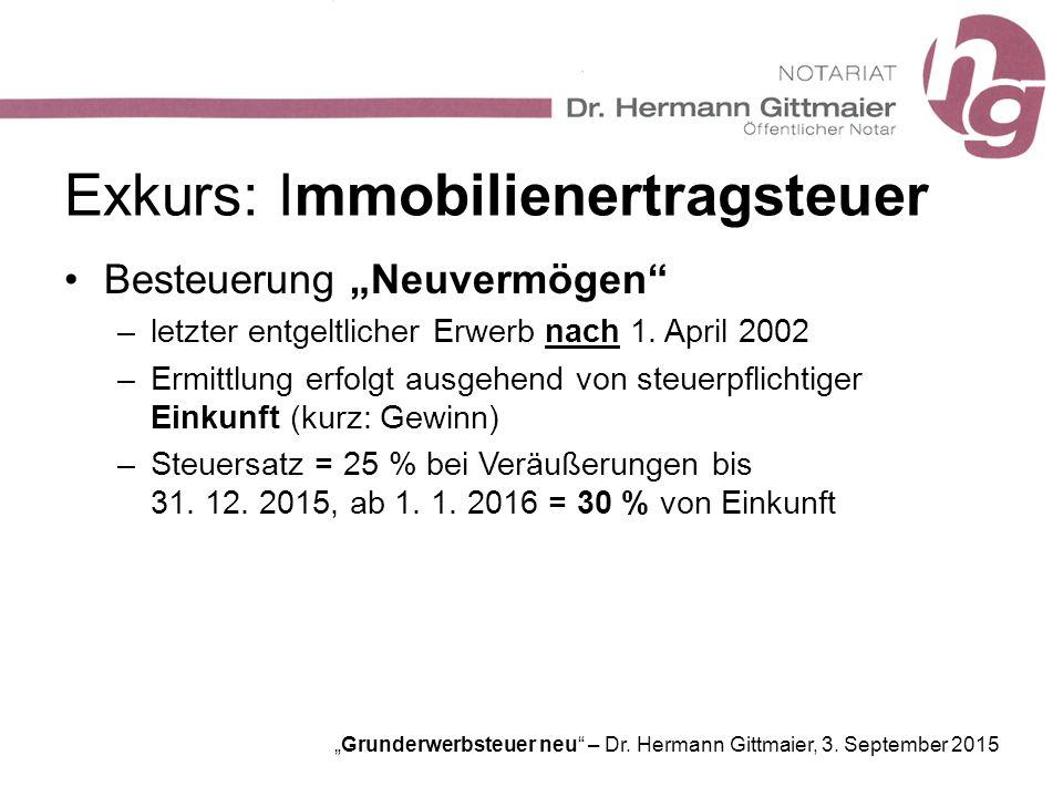 """""""Grunderwerbsteuer neu"""" – Dr. Hermann Gittmaier, 3. September 2015 Exkurs: Immobilienertragsteuer Besteuerung """"Neuvermögen"""" –letzter entgeltlicher Erw"""