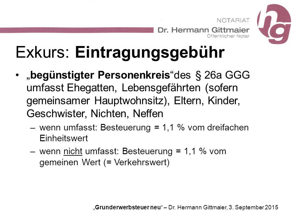 """Grunderwerbsteuer neu"" – Dr. Hermann Gittmaier, 3. September 2015 Exkurs: Eintragungsgebühr ""begünstigter Personenkreis""des § 26a GGG umfasst Ehegatt"