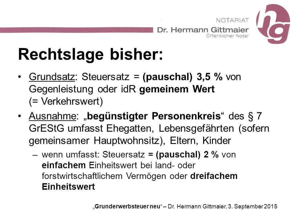 """""""Grunderwerbsteuer neu"""" – Dr. Hermann Gittmaier, 3. September 2015 Rechtslage bisher: Grundsatz: Steuersatz = (pauschal) 3,5 % von Gegenleistung oder"""