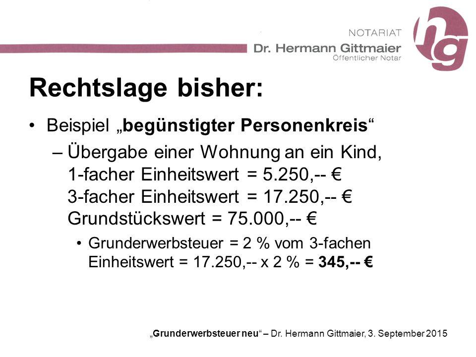 """""""Grunderwerbsteuer neu"""" – Dr. Hermann Gittmaier, 3. September 2015 Rechtslage bisher: Beispiel """"begünstigter Personenkreis"""" –Übergabe einer Wohnung an"""