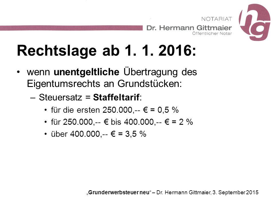 """""""Grunderwerbsteuer neu"""" – Dr. Hermann Gittmaier, 3. September 2015 Rechtslage ab 1. 1. 2016: wenn unentgeltliche Übertragung des Eigentumsrechts an Gr"""