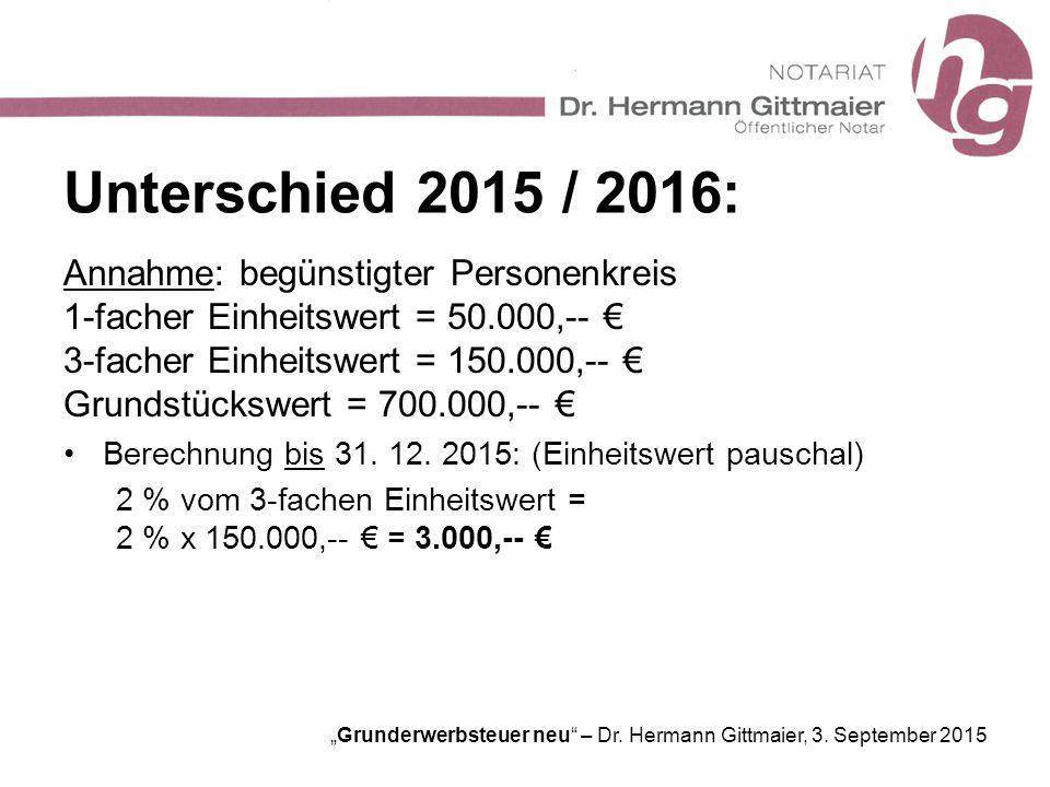 """Grunderwerbsteuer neu"" – Dr. Hermann Gittmaier, 3. September 2015 Unterschied 2015 / 2016: Annahme: begünstigter Personenkreis 1-facher Einheitswert"
