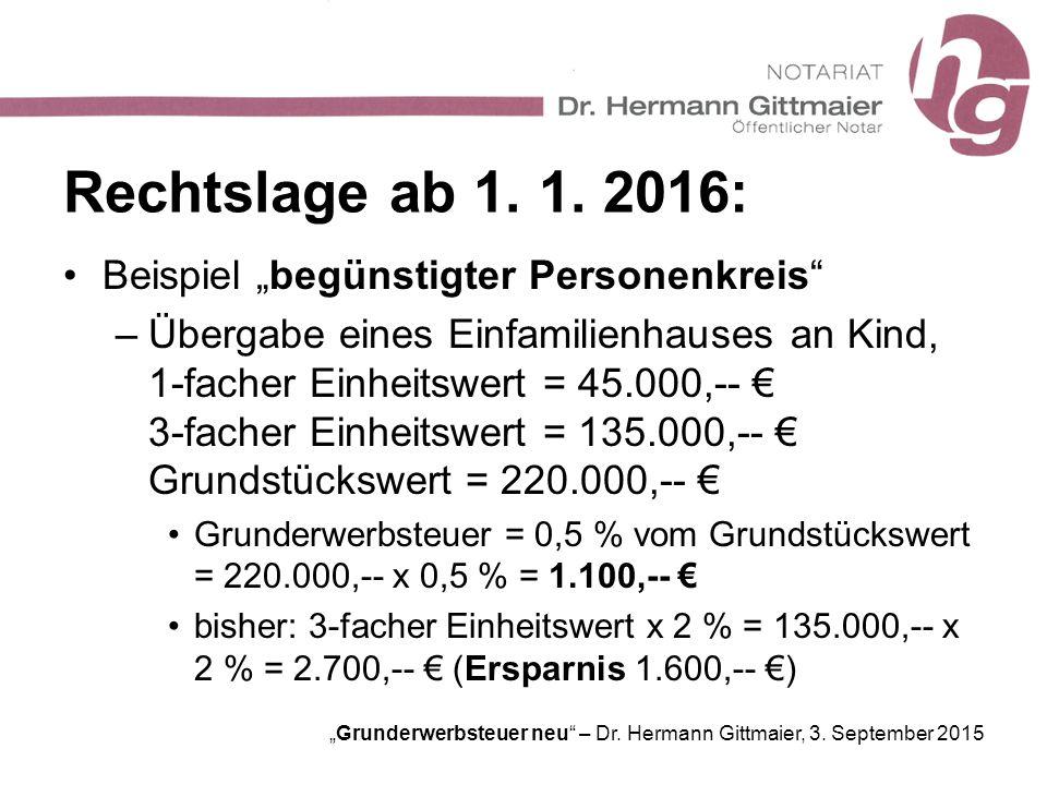"""""""Grunderwerbsteuer neu"""" – Dr. Hermann Gittmaier, 3. September 2015 Rechtslage ab 1. 1. 2016: Beispiel """"begünstigter Personenkreis"""" –Übergabe eines Ein"""