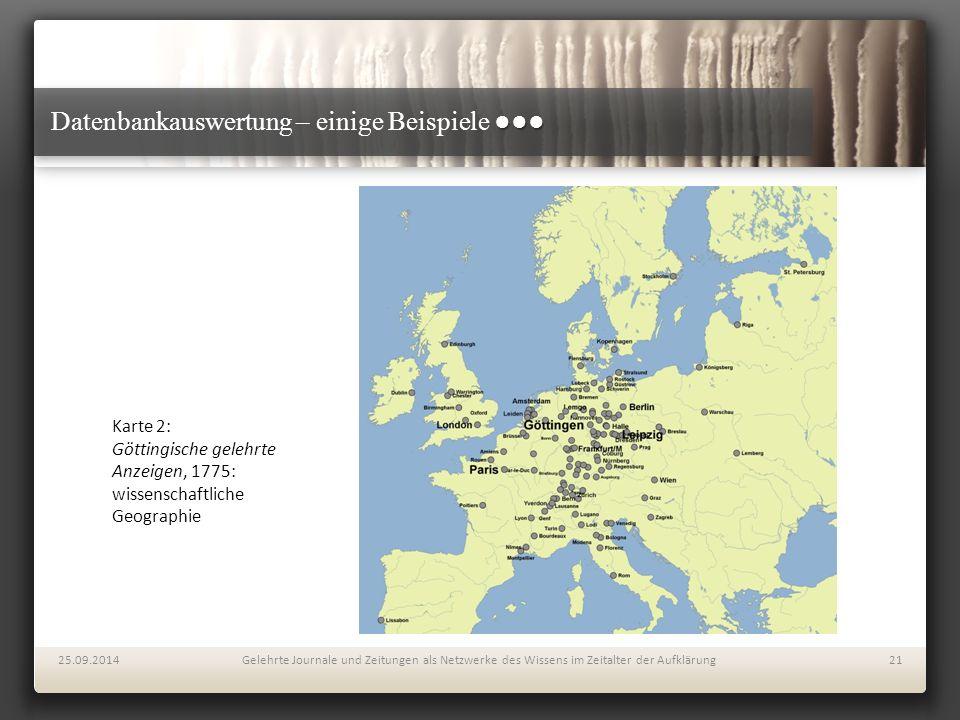 ●●● Datenbankauswertung – einige Beispiele ●●● 25.09.2014Gelehrte Journale und Zeitungen als Netzwerke des Wissens im Zeitalter der Aufklärung21 Karte