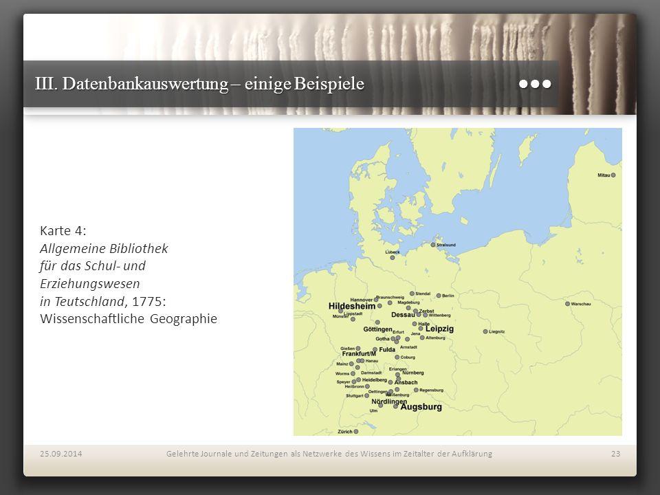 III. Datenbankauswertung – einige Beispiele ●●● Karte 4: Allgemeine Bibliothek für das Schul- und Erziehungswesen in Teutschland, 1775: Wissenschaftli