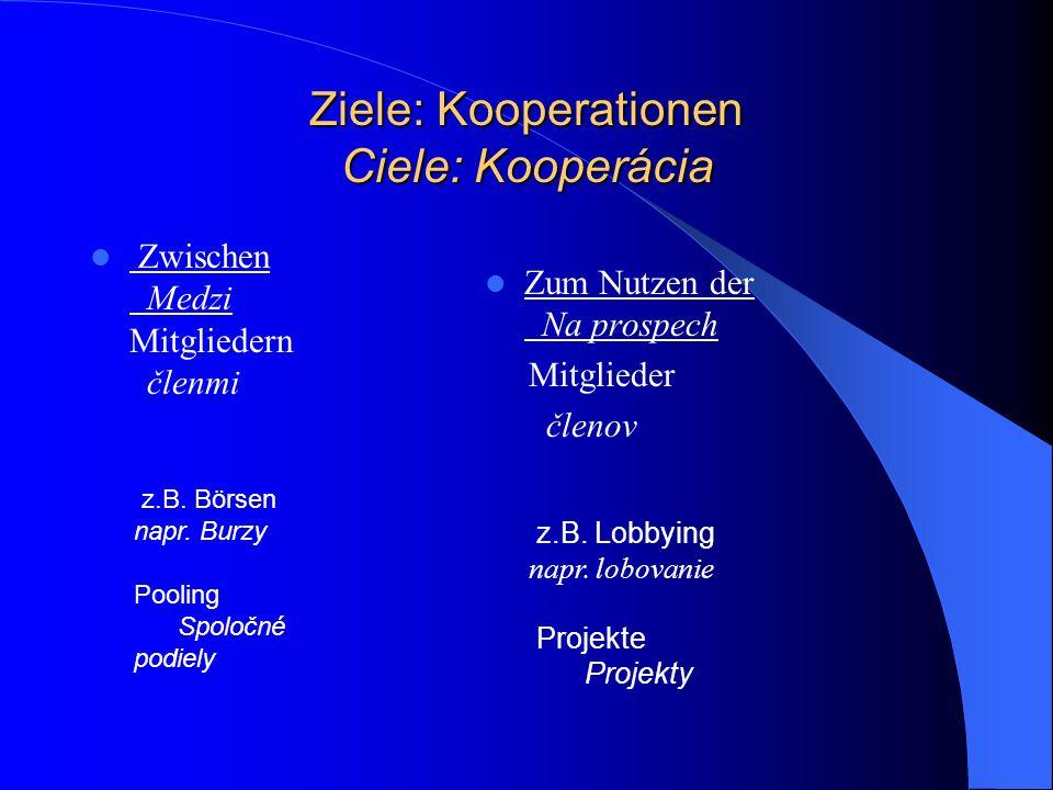 Ziele: Kooperationen Ciele: Kooperácia Zwischen Medzi Mitgliedern členmi Zum Nutzen der Na prospech Mitglieder členov z.B.