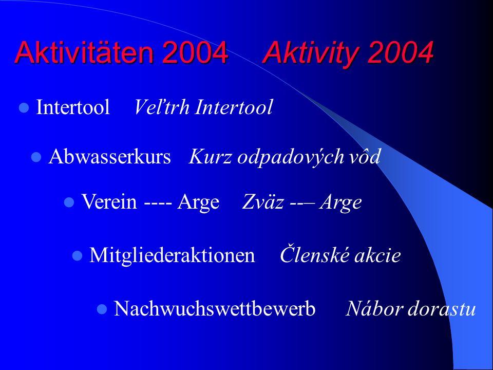 Aktivitäten 2004 Aktivity 2004 Intertool Veľtrh Intertool Verein ---- Arge Zväz --– Arge Abwasserkurs Kurz odpadových vôd Mitgliederaktionen Členské akcie Nachwuchswettbewerb Nábor dorastu