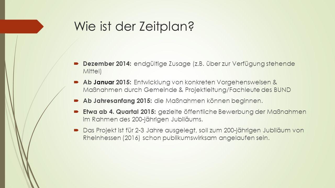 Wie ist der Zeitplan. Dezember 2014: endgültige Zusage (z.B.