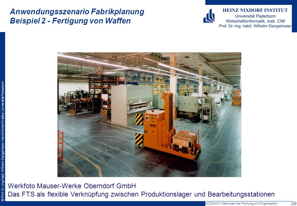 © Prof. Dr.-Ing habil. Wilhelm Dangelmaier, Heinz Nixdorf Institut, Universität Paderborn Werkfoto Mauser-Werke Oberndorf GmbH Das FTS als flexible Ve