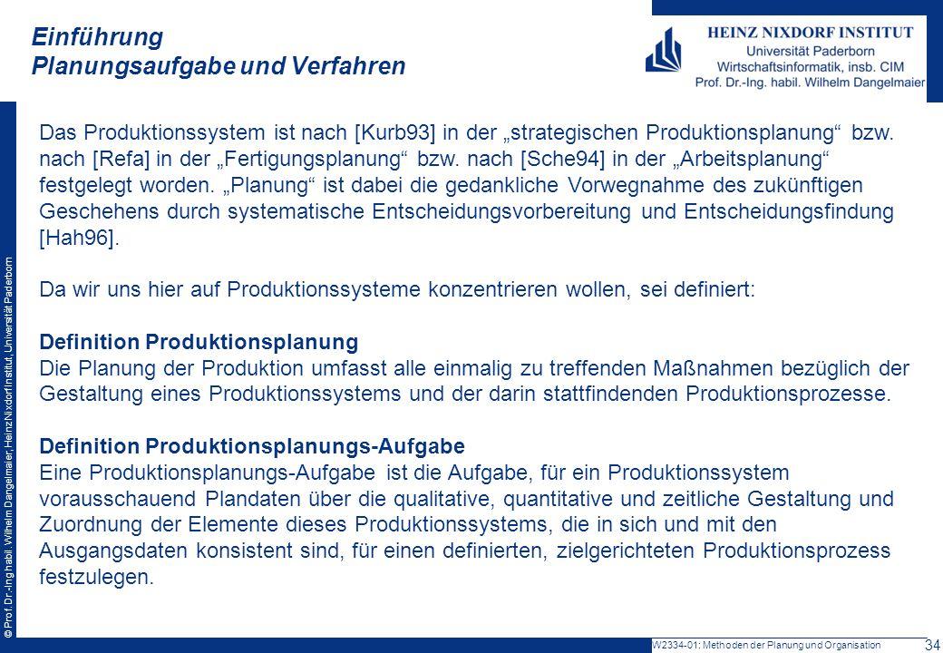 © Prof. Dr.-Ing habil. Wilhelm Dangelmaier, Heinz Nixdorf Institut, Universität Paderborn Einführung Planungsaufgabe und Verfahren W2334-01: Methoden