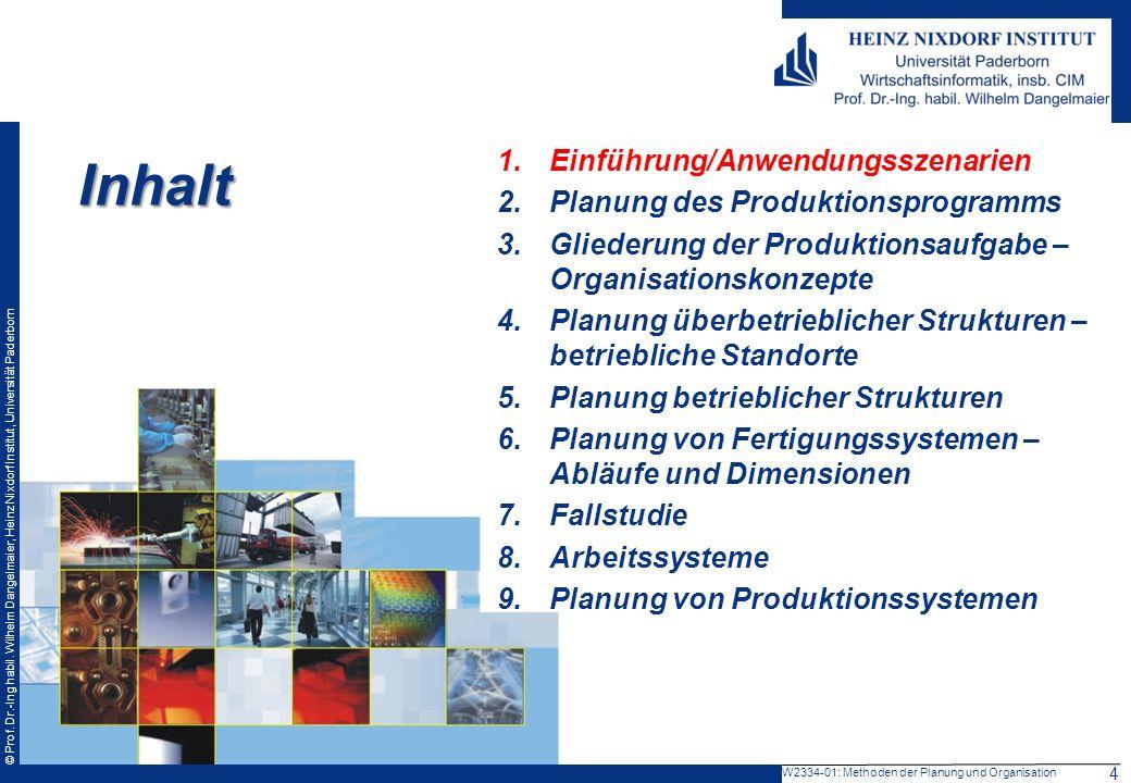 © Prof. Dr.-Ing habil. Wilhelm Dangelmaier, Heinz Nixdorf Institut, Universität Paderborn W2334-01: Methoden der Planung und Organisation Inhalt 1.Ein