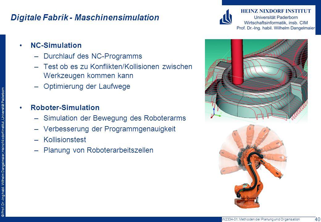 © Prof. Dr.-Ing habil. Wilhelm Dangelmaier, Heinz Nixdorf Institut, Universität Paderborn NC-Simulation –Durchlauf des NC-Programms –Test ob es zu Kon