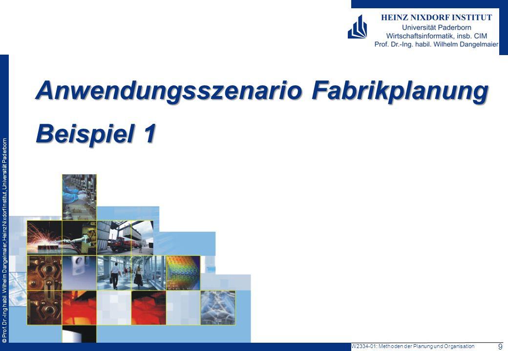 © Prof. Dr.-Ing habil. Wilhelm Dangelmaier, Heinz Nixdorf Institut, Universität Paderborn W2334-01: Methoden der Planung und Organisation Anwendungssz