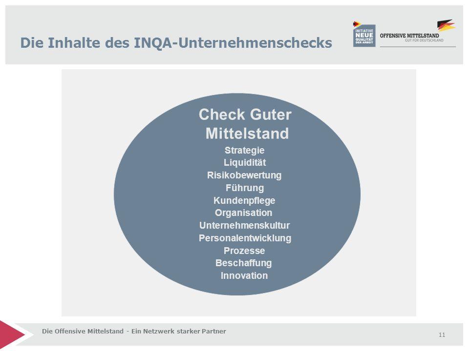 11 Die Offensive Mittelstand - Ein Netzwerk starker Partner Strategie Liquidität Risikobewertung Führung Kundenpflege Organisation Unternehmenskultur